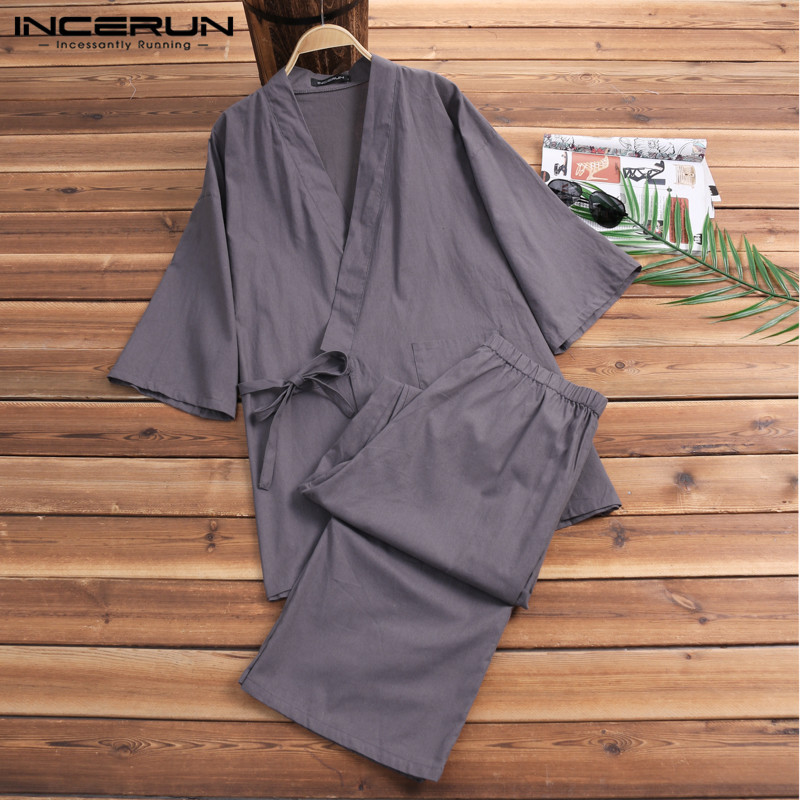 Suits Pajamas Japanese Sleepwear Kimono Lounge Male Cotton Mens Bathrobe Robe-Gown Loose-Man