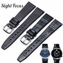 b2f1ee79d 14mm 18mm Ultra Thin Leather Watch Band for Movado Museum Series 0602230  4231 Strap for Men