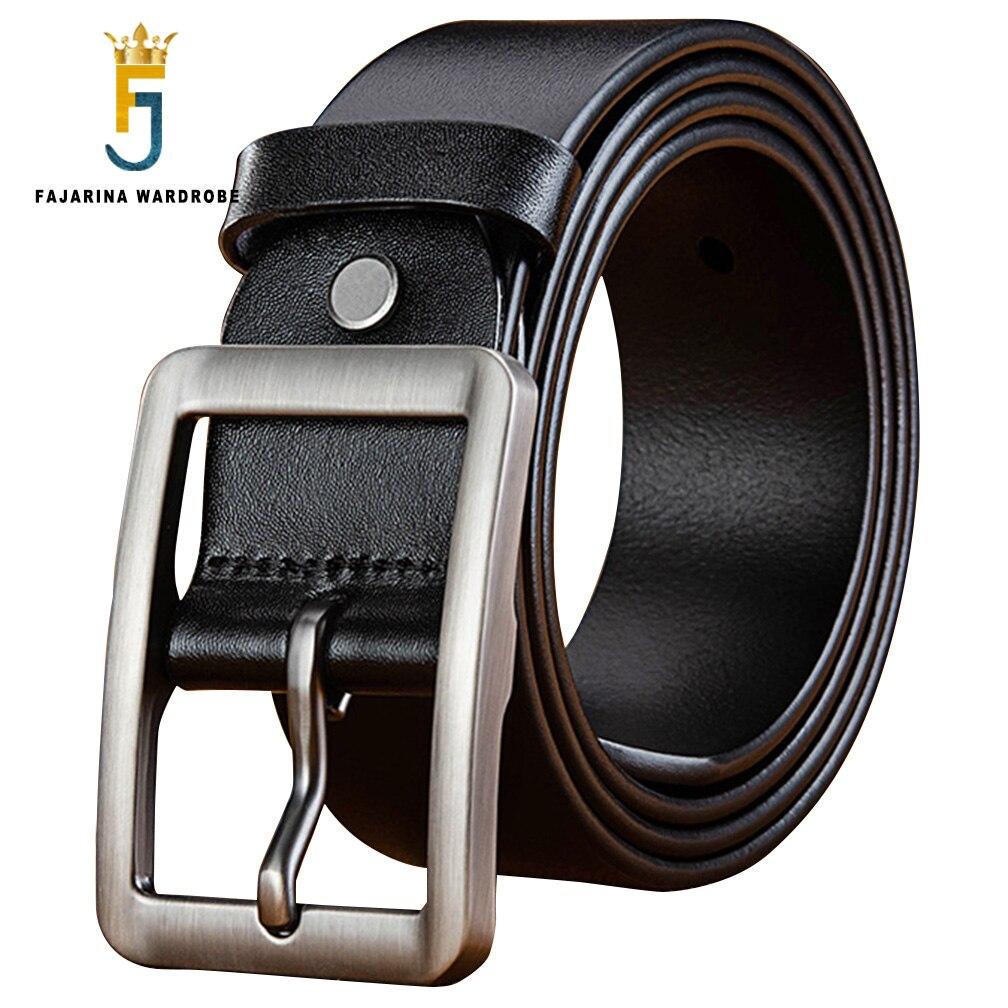 FAJARINA Top Quality 100 Pure Genuine Leather Retro Alloy Geometry Pin Buckle Metal Belts Men 3