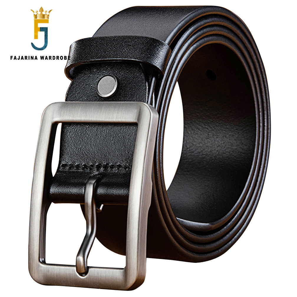 FAJARINA Top Quality 100% Pure Genuine Leather Retro Alloy Geometry Pin Buckle Metal Belts Men 3.8cm Wide Accessories N17FJ734