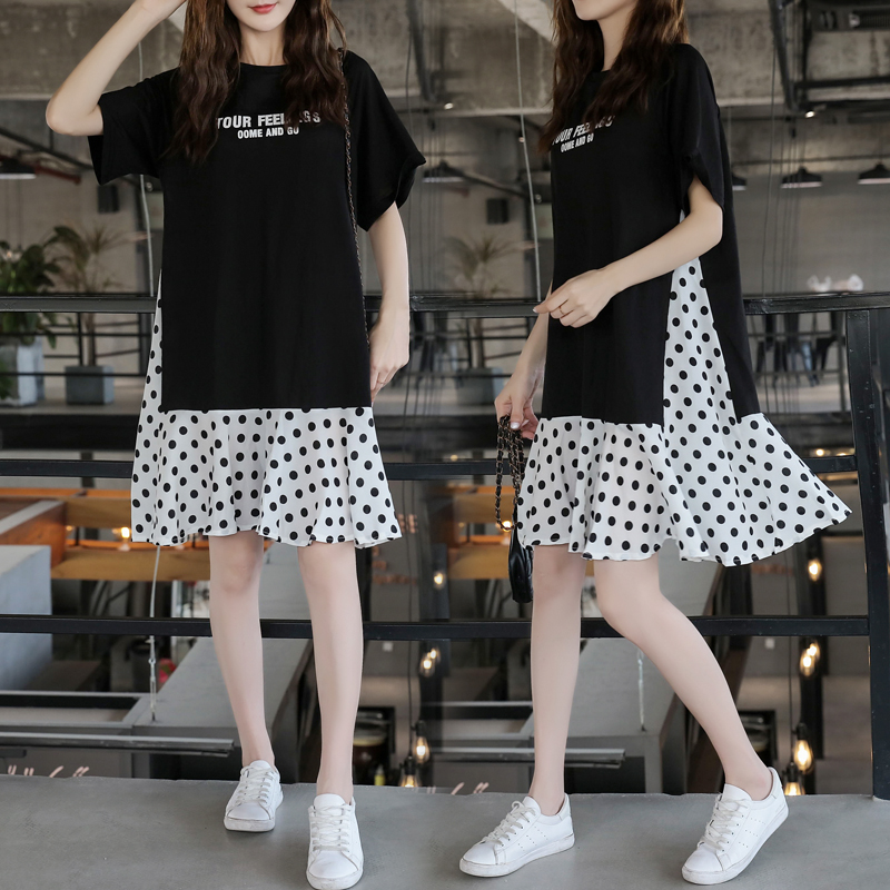 XL-5XL Plus Size Women Casual Dress Summer 2019 Short Sleeve Cotton Patchwork Chiffon Loose Casual Polka Dot Dresses 1
