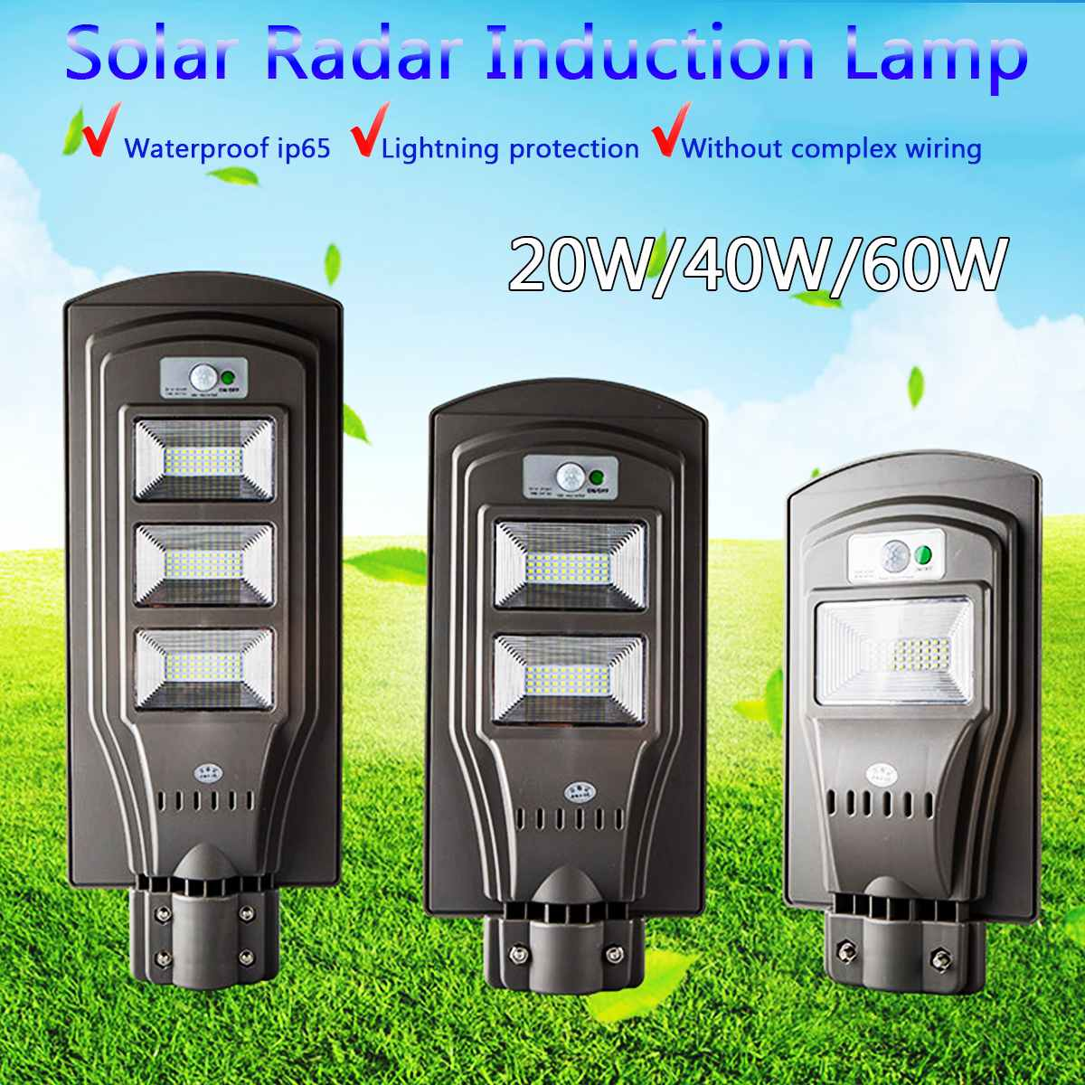 80//120 LED Solar Street Wall Light Induction Outdoor Lamp PIR Motion Sensor