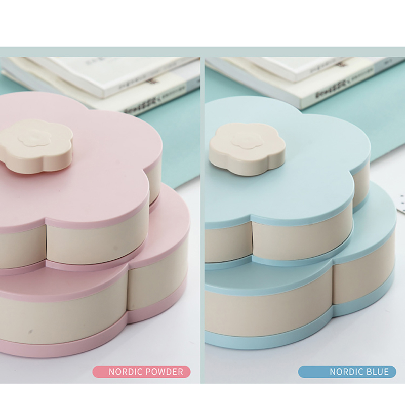 Petal Shape Rotating Snack Box Candy Tray Food Storage Box Wedding Candy Plates Double Deck Dried Fruit Organizer Storage in Storage Trays from Home Garden