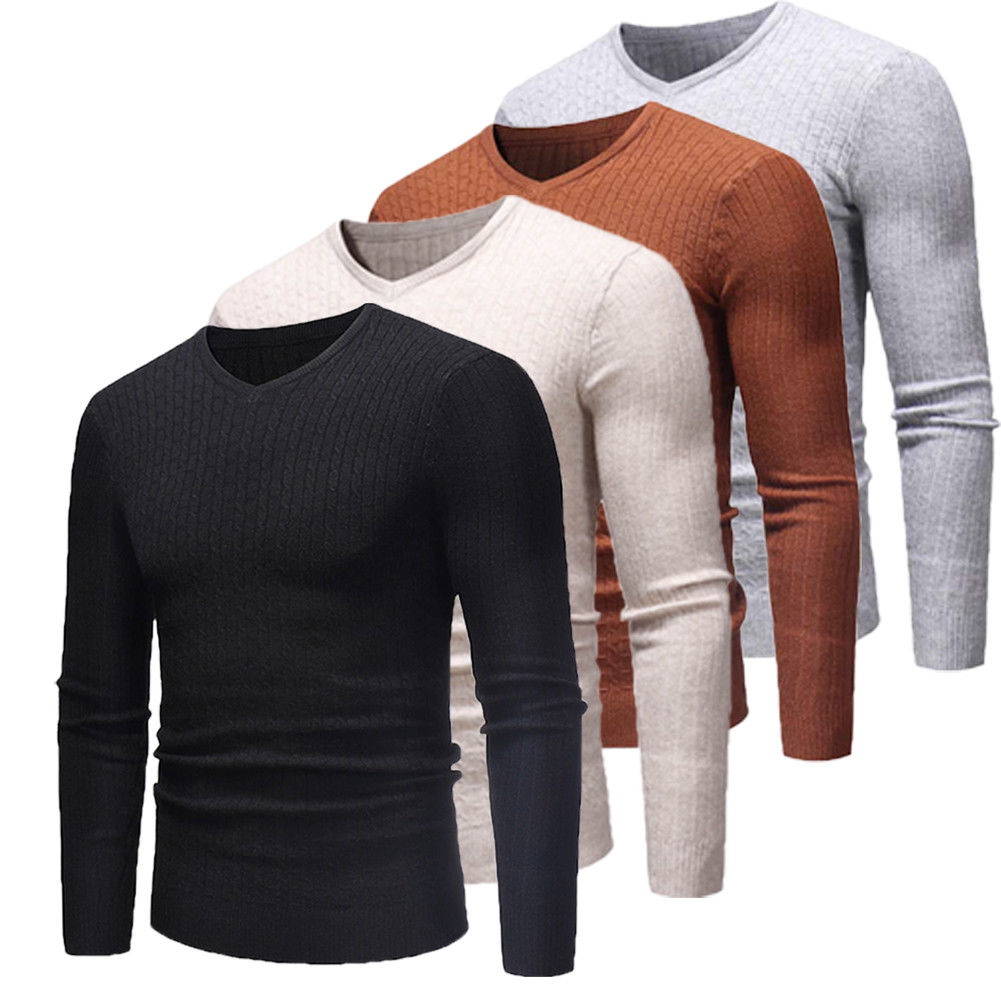 2019 New Autumn Winter Men'S V Neck Solid Color Casual Black Warm Sweater Male's Slim Fit Brand Knitted Pullovers Plus Size 3XL