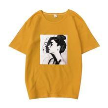 купить Summer 2019 Women Cotton T-shirt Girls Printed Short Sleeve O Neck Tops Loose Plus Size Casual Sports Running Wild T-shirt Black по цене 291.79 рублей