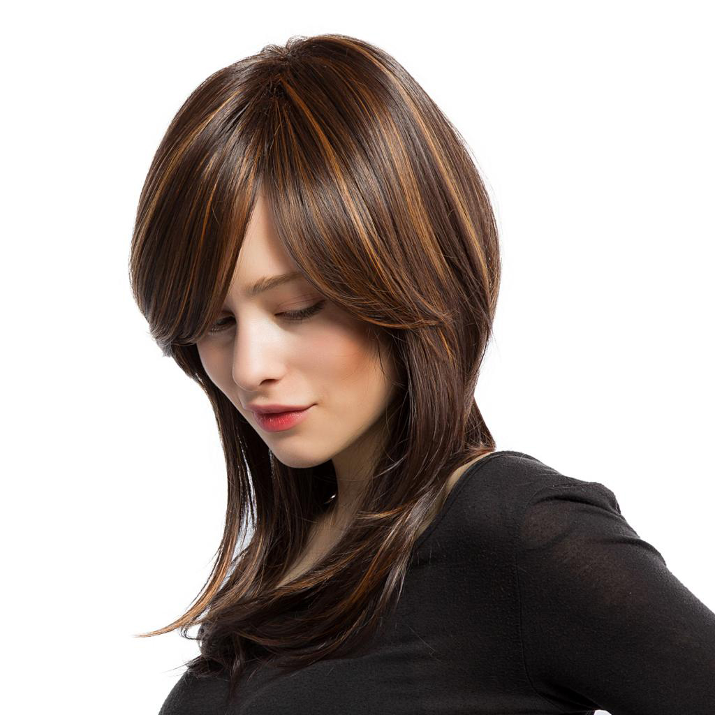 Women Ladies Natural Straight Wig Medium Long Layered Highlight  Brown Gold Mix Color Wig Net Cap Fashion Cosplay Daily Wear 网 红 小 姐姐