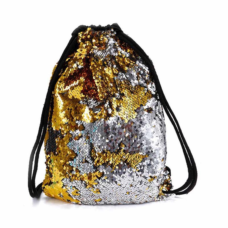Sequins Backpack Package Bag Flip Sequins Drawstring Beam Beach School Student Bags Backpacks Backpack Rucksack For Women Travel