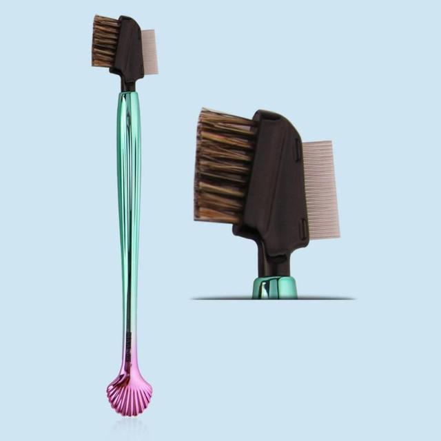 2-сторонний профессиональная кисть для бровей с гальваническим покрытием Пластик оболочки Форма ресницы для бровей Макияж косметические инструменты, кисть