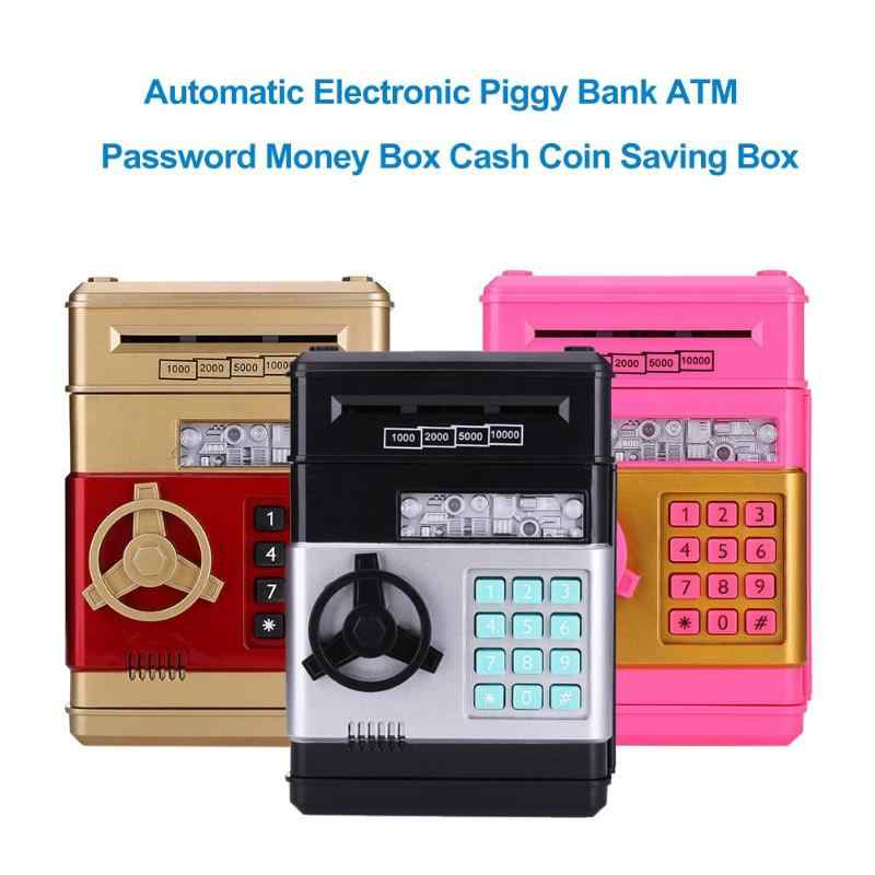 Automatic Piggy Bank ATM Password Money Box Cash Coins Saving Box ATM Bank  Safe Box Deposit Banknote Kids Birthday Gift