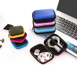 Image 5 - Nowy Mini Zipper twardy futerał na słuchawki PU skórzana torebka na słuchawki futerał ochronny kabel USB słuchawki douszne etui na słuchawki