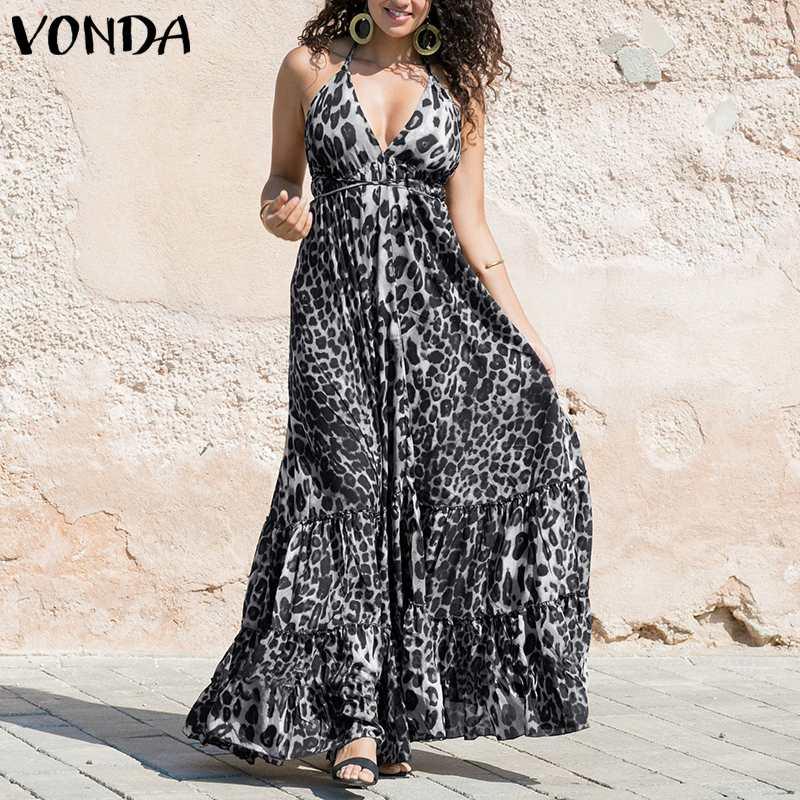 Плюс размер VONDA женское леопардовое Платье с принтом 2019 летнее модное сексуальное платье на бретельках с открытой спиной и рюшами Bing свобод...