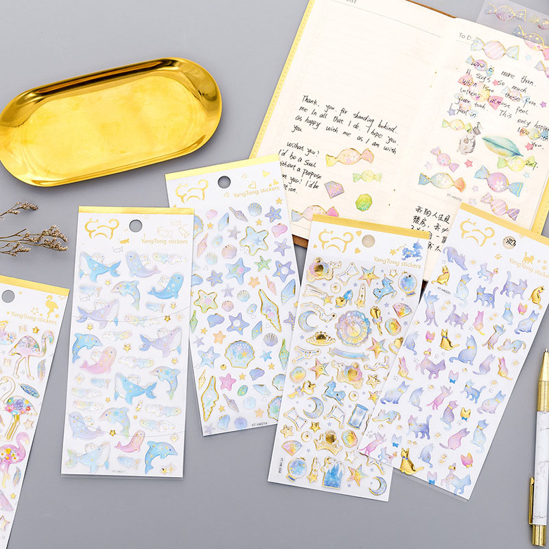 1 Sheet Gold Foil Stickers Flamingo 3D Stickers Decorative Adhesive Cat Whale Candy PVC Stickers For Scrapbooking Diy Albums   1 Sheet Gold Foil Stickers Flamingo 3D Stickers Decorative Adhesive Cat Whale Candy PVC Stickers For Scrapbooking Diy Albums