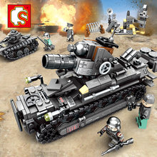 957pcs 4in1 Compatible Legoe 2WW Military Series Tank German Army Building Blocks Tiger tank Model Bricks Toys For Chlidren(China)