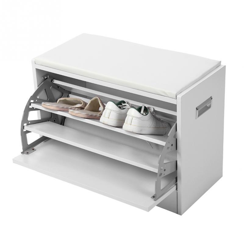 White Wooden Shoe Storage Cabinet Footwear Stand Rack Cupboard Organizer Shelves