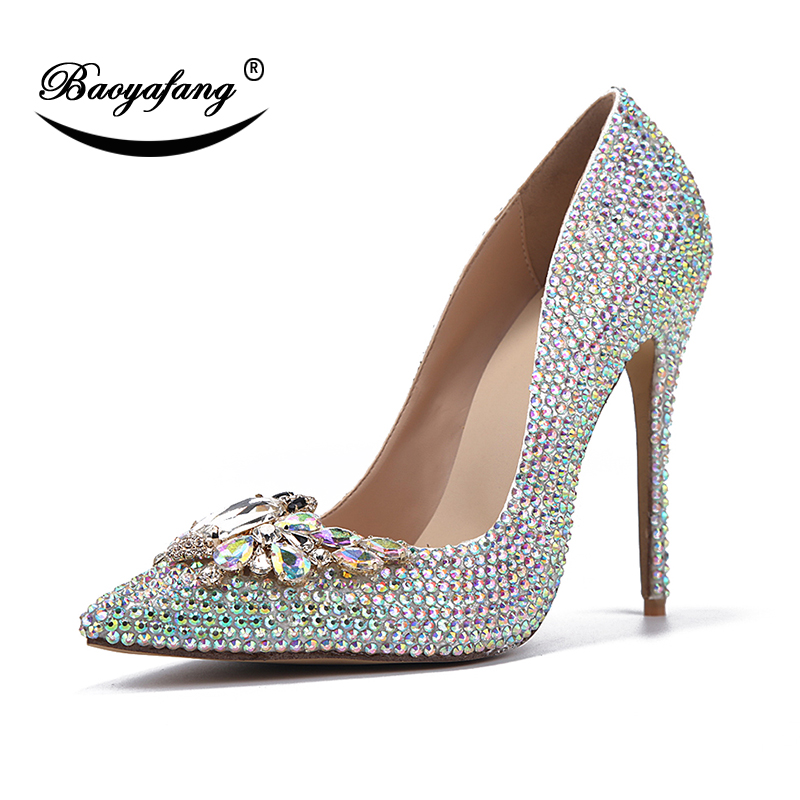 BaoYaFang Bling crystal Pointed Toe Wedding shoes Woman Bride fashion Party Heels shoes Thin Heel Ladies