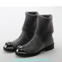Женские носки с металлическим носком и украшением в виде кристаллов; короткие ботиночки; ботинки до середины икры на низком каблуке; Роскош