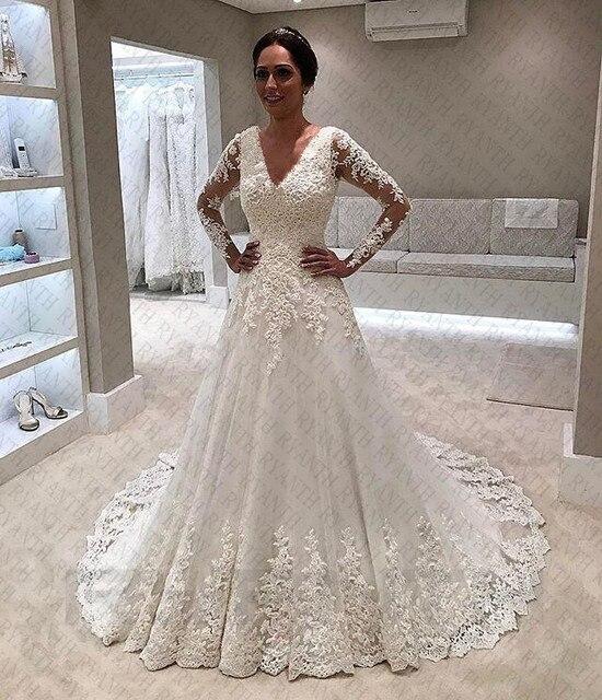 Ryanth Vestido De Noiva Sexy V Neck Long Sleeve Lace Wedding Dress 2019 New Arrival Robe De Mariee Custom Made Bridal Gown