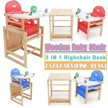 3 in 1 Wood Baby Seat Highchairs Baby Dinner Table Multifunction Chairs Cushion Pad Mat with Seat Belt For Children