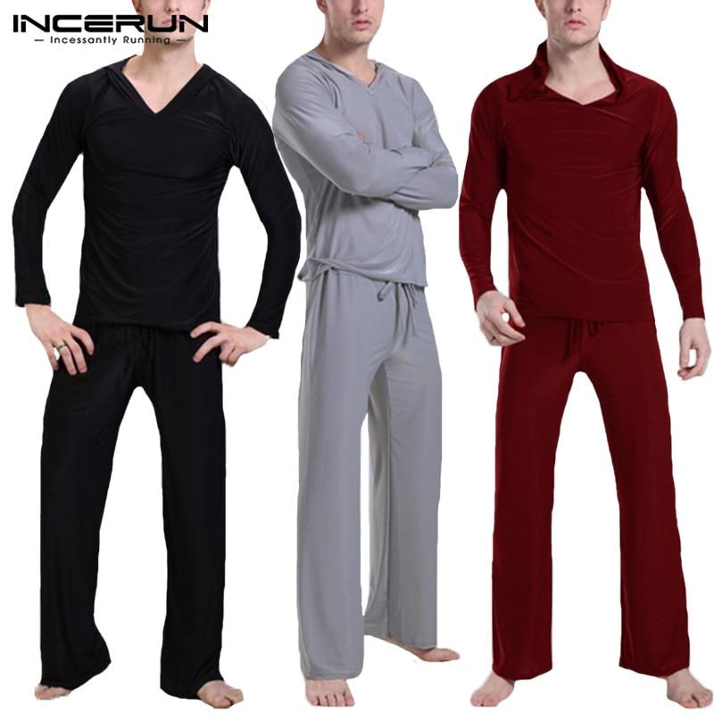 INCERUN Pants Pajamas Sleepwear Suit Homewear-Sets Solid Casual Soft Tops Hooded Men