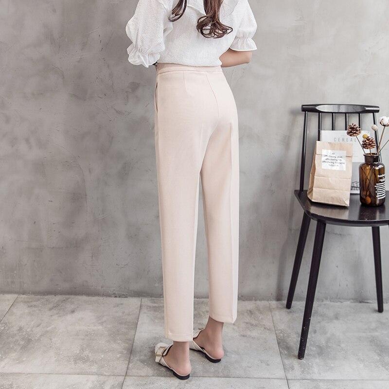 Apricot Mujeres Las Moda Harén Pantalones Nuevo black Primavera Oficina Rectos Dama Suelta De Cintura Verano Para Pengpious Alta Crooped waTpqF1