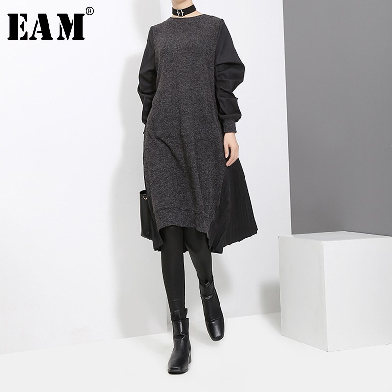 [EAM] 2020 New Spring Round Neck Long Sleeve Black Back Pleated Split Joint Loose Irregular Dress Women Fashion Tide JD487