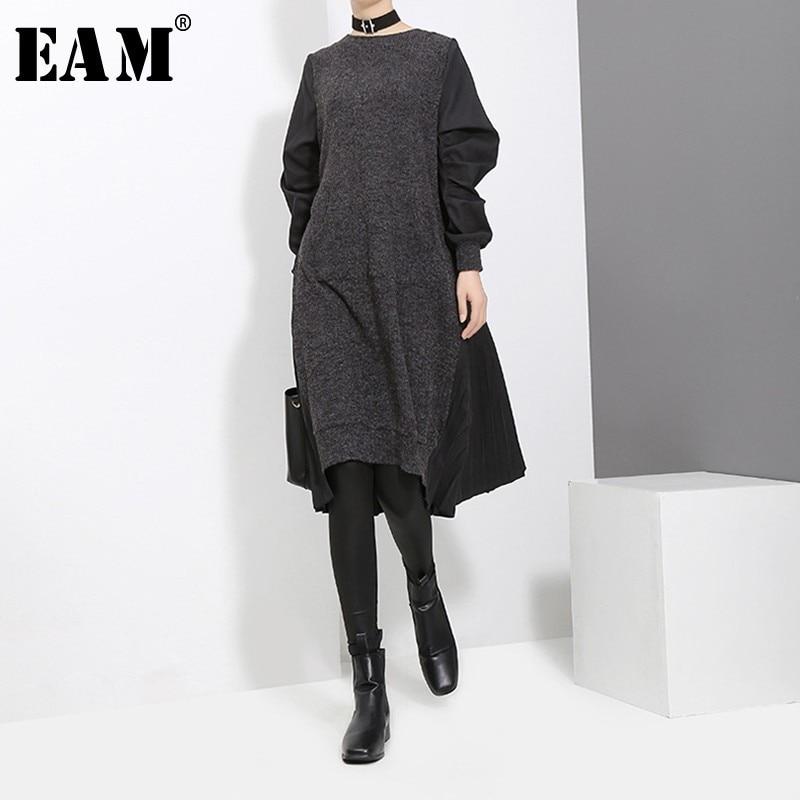 [EAM] 2020 New Spring Round Neck Long Sleeve Black Back Pleated Split Joint Loose Irregular Dress Women Fashion Tide JD487