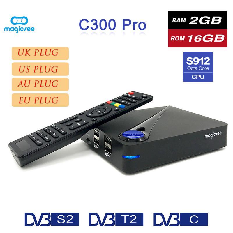 Magicsee C300 PRO телеприставки Android 7,1 DVB S912 HD телеприставки сетевой плеер ТВ Box Bluetooth V4.0 DVB-T2 4 К/2 К плеер