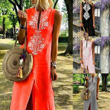 2019 Plus Size Floral Embroidery Women Robe Femme Sexy Solid V Neck Sleeveless Slit Maxi Summer Sundress Beach Party Dress chic plus size round neck asymmetric slit sleeveless dress for women