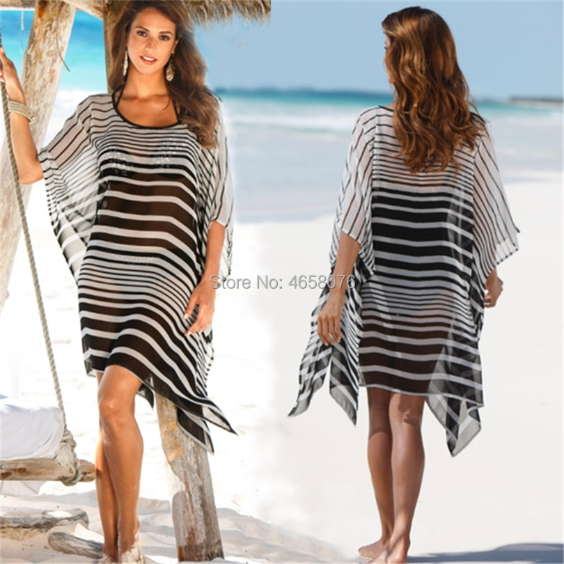 8ce2a0eb6ad98 Detail Feedback Questions about 2019 Women Stripe Beach Cover Up Bikini  Beachwear Pareo Plus Size Beach Dress Summer Tunic Chiffon Kaftan Swimwear  Cover Ups ...