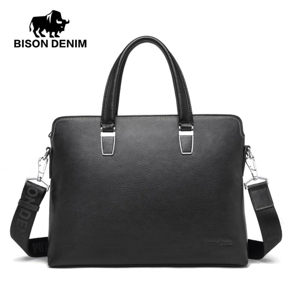 BISON DENIM Brand Handbag Men Shoulder Bags Genuine Leather Men's Briefcase Cowhide Business Casual Messenger Bag Free Ship