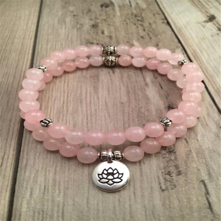 Rose-Bracelet Mala Bless Healing Meditation Sutra Quartz Handmade Lucky Pray Natural