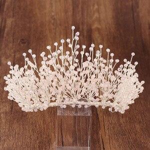 Image 4 - Big Luxury Hair Crystal Crown Rhinestone Headband Tiara Wedding Hair Accessories Bridal Headpiece Handmade Jewelry Girls Diadema