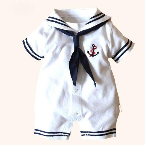 Newborn Infant Baby Boy Girls Sailor Style Cotton Short Sleeve Romper Jumpsuit Playsuit Outfit Clothes Set