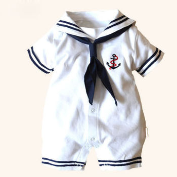 Newborn Infant Baby Boy Girls Sailor Style Cotton Short Sleeve Romper Jumpsuit Playsuit Outfit Clothes Set baby short sleeve one piece dress baby romper newborn infant cotton romper boy girl animal printed jumpsuit kids clothes outfit