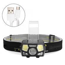 цена на USB Charging LED COB Head Light Flashlight Outdoor Waterproof Headlight For Camping Emergency Night Fishing