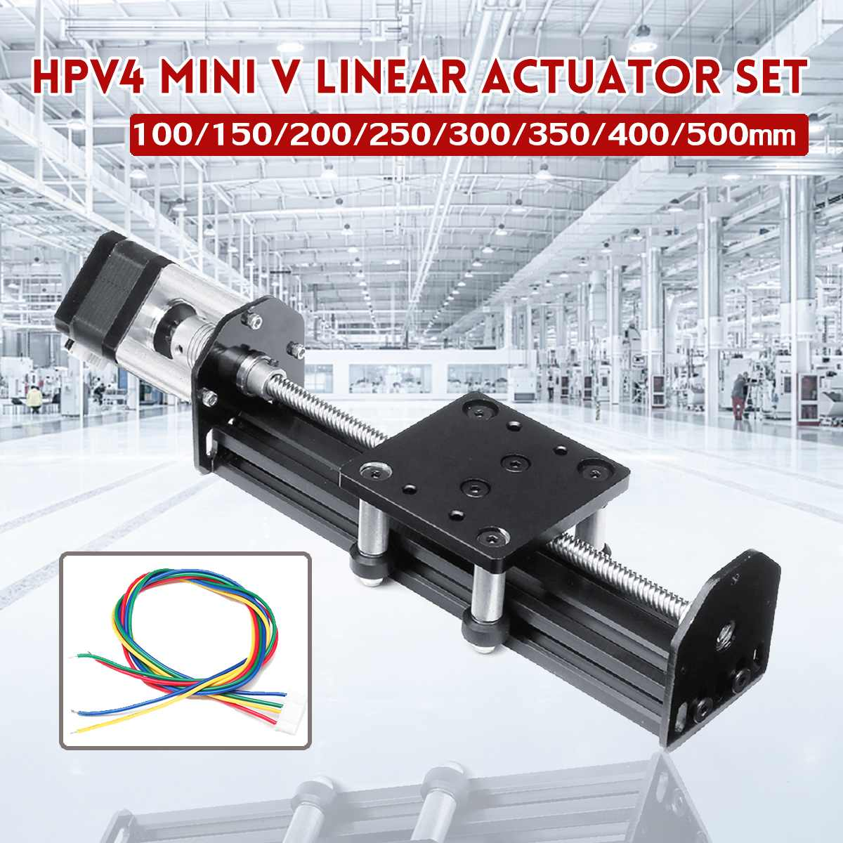 HPV4 Linear Guide Set Open Builds Mini V Linear Actuator 100-500mm Linear Module With 17HS3401S Stepper Motor