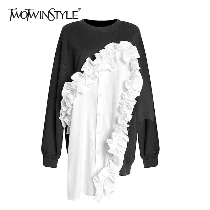 TWOTWINSTYLE Patchwork Ruffle Women's Sweatshirt Long Sleeve Hit Colors Irregular Pullover Tops Female 2020 Autumn Fashion New
