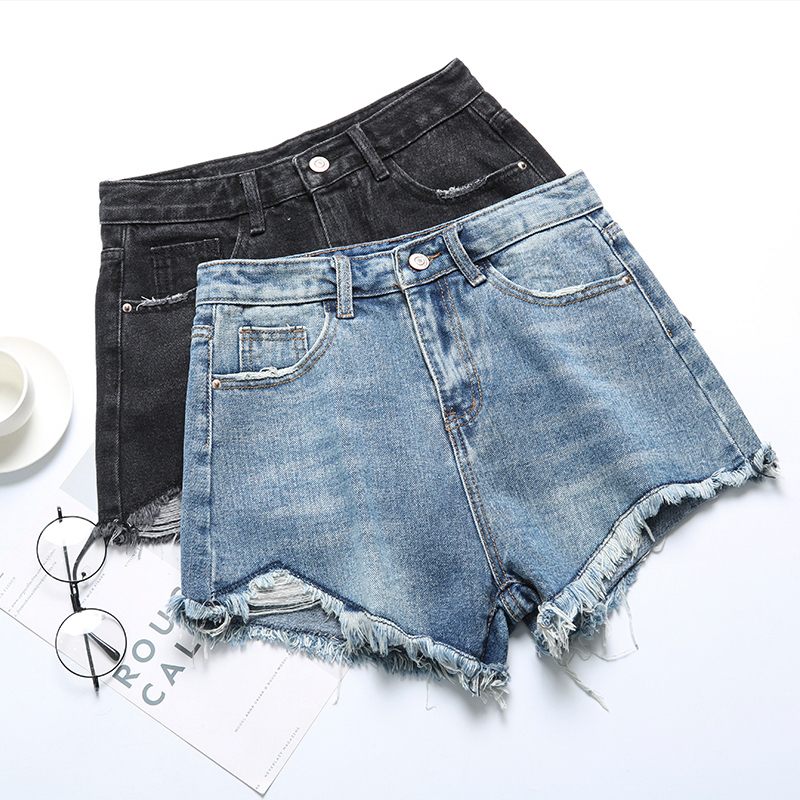 Korean Summer Pocket Denim Shorts For Women Fashion Button Shorts Casual High Waist Shorts Feminino