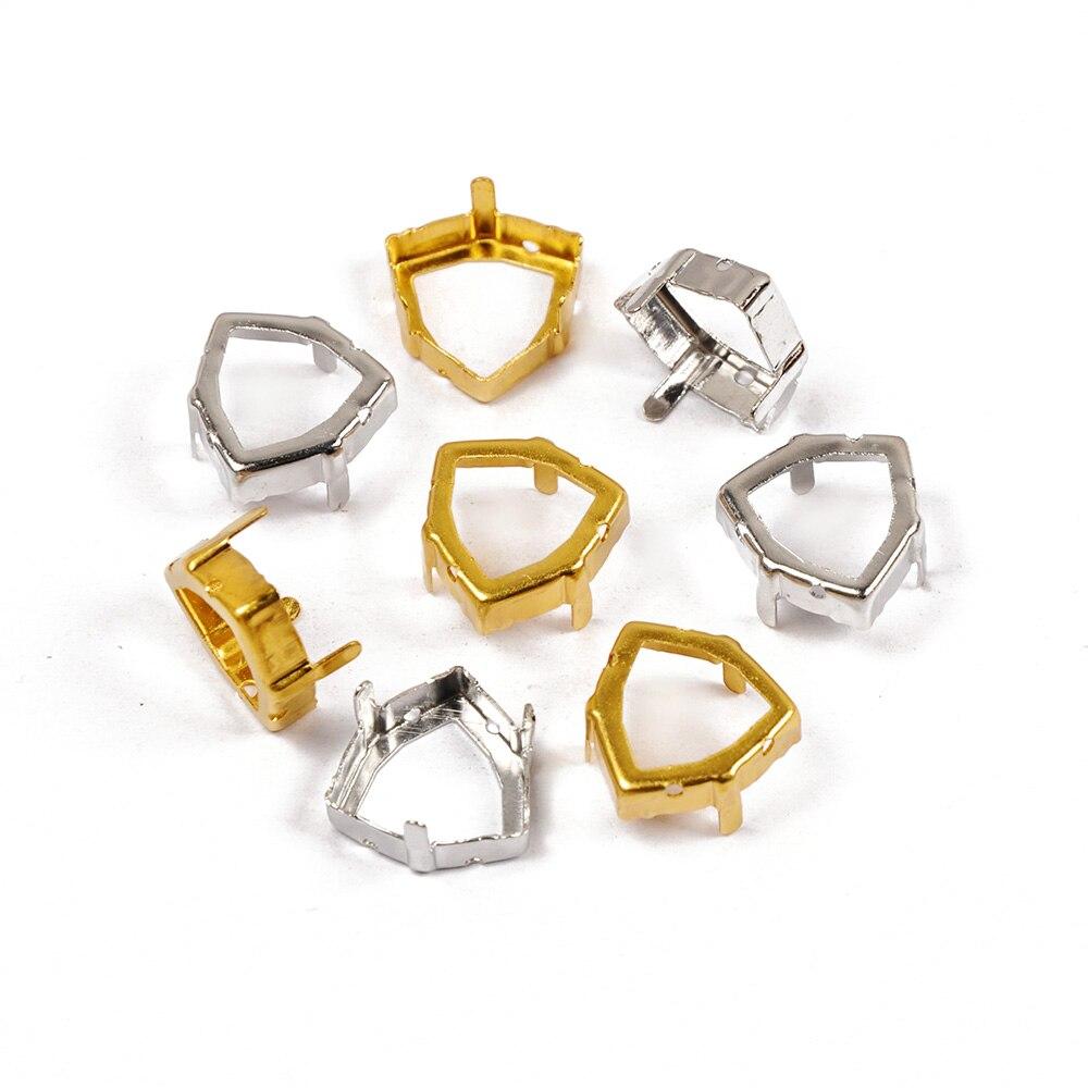 Peridot Fat Tri angle Glass Crystal Sew On Rhinestone Sliver Gold Base Sew On Claw Rhinestone For Wedding Dress Garment in Rhinestones from Home Garden