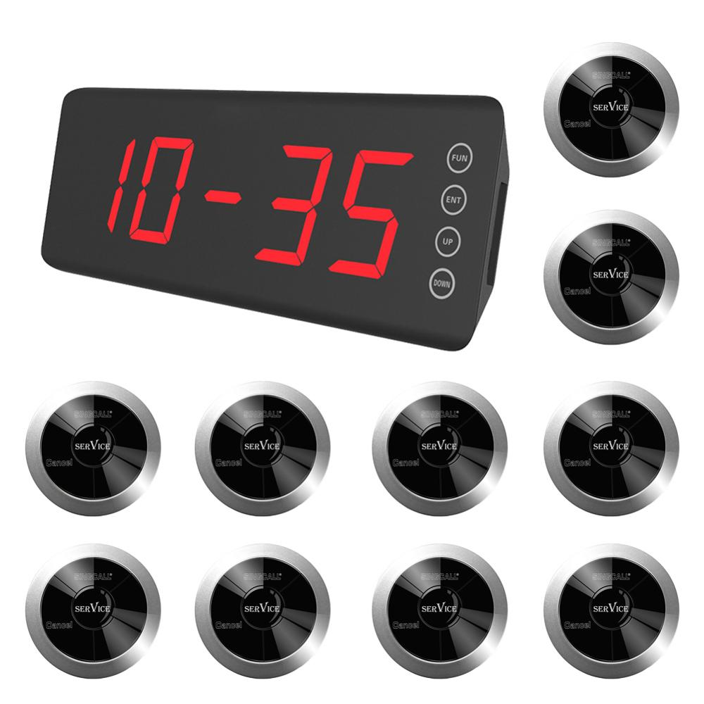 SINGCALL Wireless Calling System  Pack of 1 Pc Display Receiver and 10Pcs table bells with 2 options waterproof button|Pagers| |  - title=