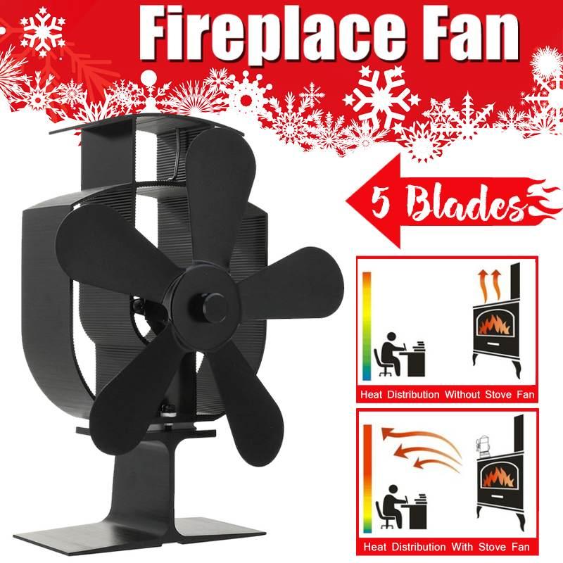 Black 5 Blades Heat Powered Stove Fan Log Wood Burner Ecofan Quiet Black Home Fireplace Fan Efficient Heat Eco Stove Top Fan