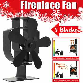 Black 5 Blades Heat Powered Stove Fan Log Wood Burner Ecofan Quiet Black Home Fireplace Fan Efficient Heat Eco Stove Top Fan - DISCOUNT ITEM  47% OFF All Category