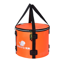 4 stilleri katlanır su geçirmez balıkçılık kova balıkçı çantası balık koruma varil taşınabilir yuvarlak Eva balık çantası (turuncu ve mavi renk)