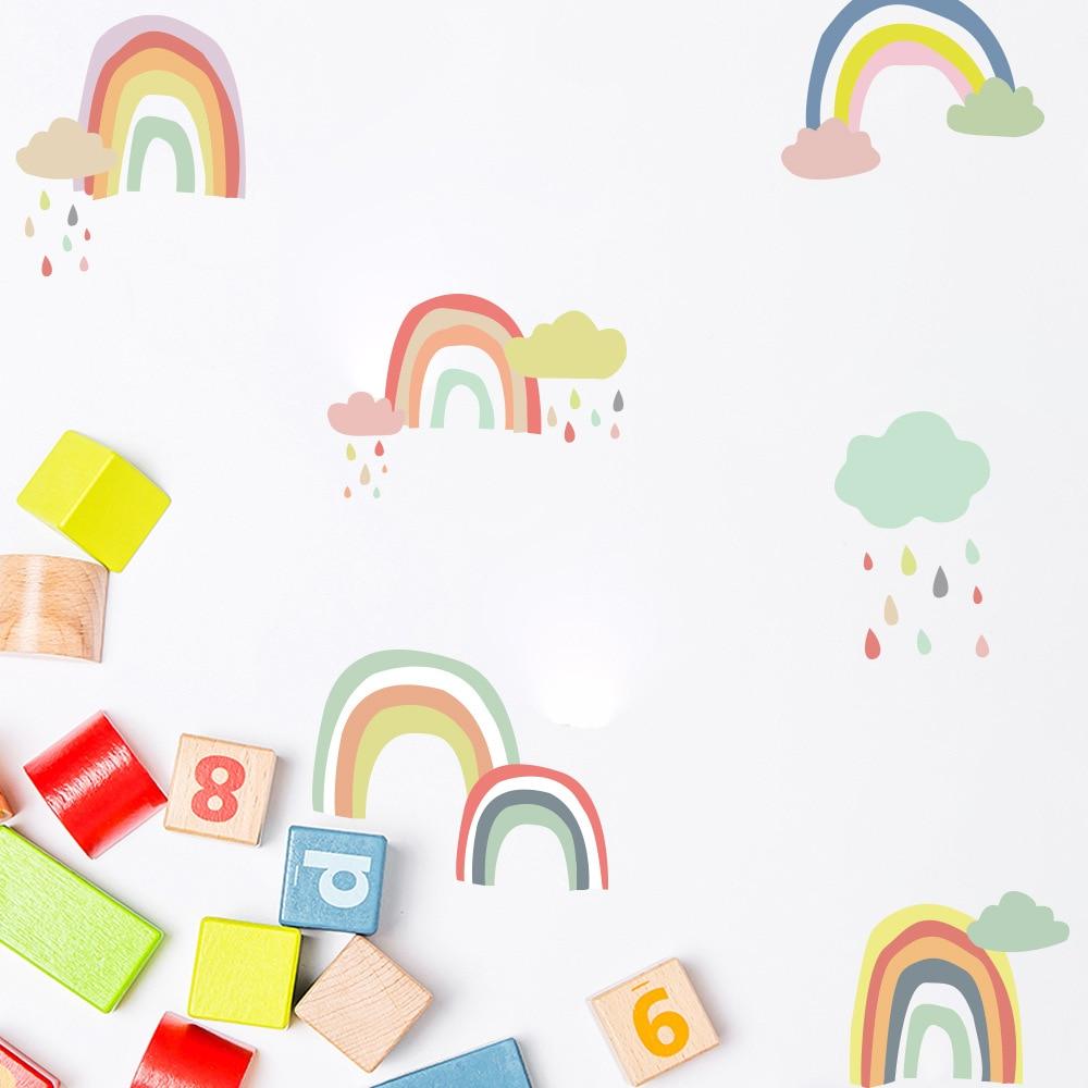 Funlife DIY Rainbow Home Decoration Stickers Nordic Ins Style Kindergarten Classroom Layout Children's Room PVC Art Wall Sticker