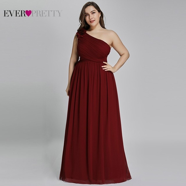 Plus Size Burgundy Chiffon Bridesmaid Dresses Long Ever Pretty EP08237 A Line Sleeveless Elegant Formal Wedding Guest Gowns 2020
