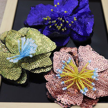 Handmade beaded 3 color sequins large flower cloth stickers clothes diy accessories decorative patch decals