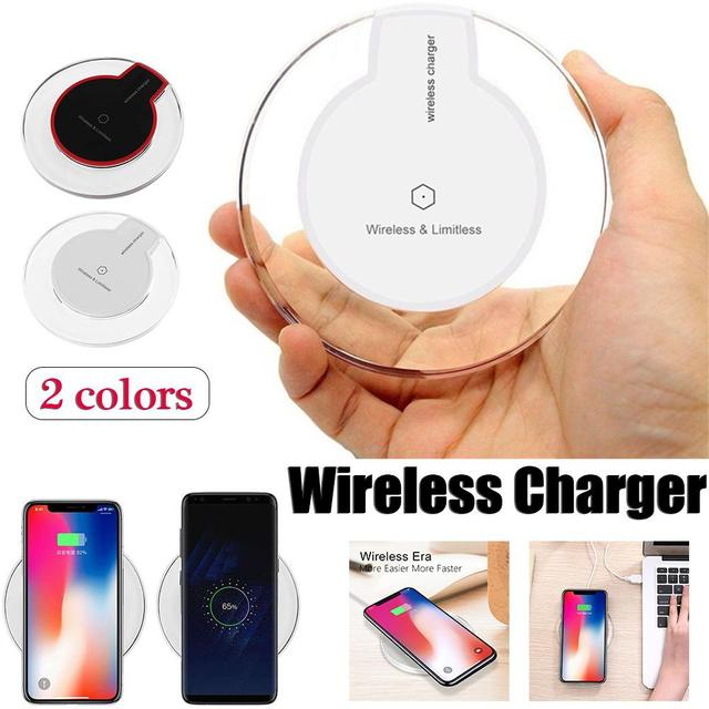 Nova Ultra-Fino Cristal K9 Qi Carregador Sem Fio Para iphone X caixa Do Telefone Móvel de Carga Rápida Base de Carregamento Sem Fio do Transmissor rodada