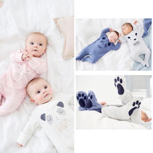 UK Newborn Infant Baby Girls Boys Daddy Mummy Babygrow Sleepsuit   Romper