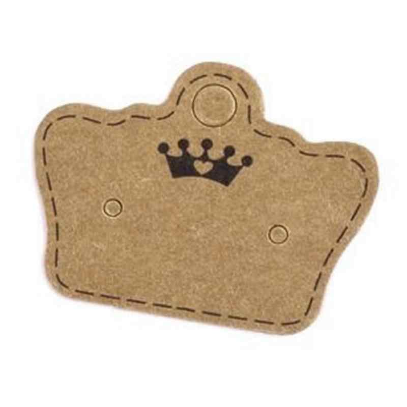 100PCS DIY Kraft Paper Handmade Stud Earring Tag Crown Shape Small Cute Earring Packing Display Tag Card