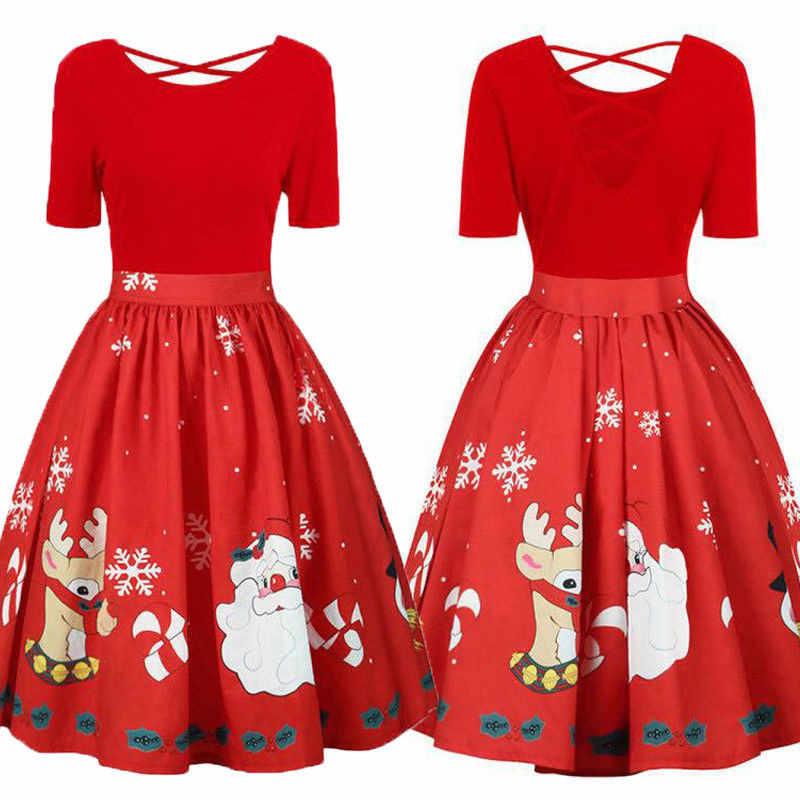 Christmas Dresses Womens.Womens Fashion Plus Size Christmas Dress Short Sleeve Xmas Santa Claus Printed Criss Cross Party Dress 2019 New Year Dresses 5xl